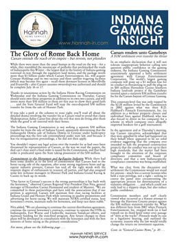 Indiana Gaming Insight Newsletter